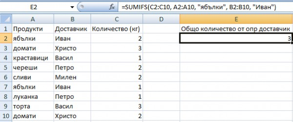 sumifs example